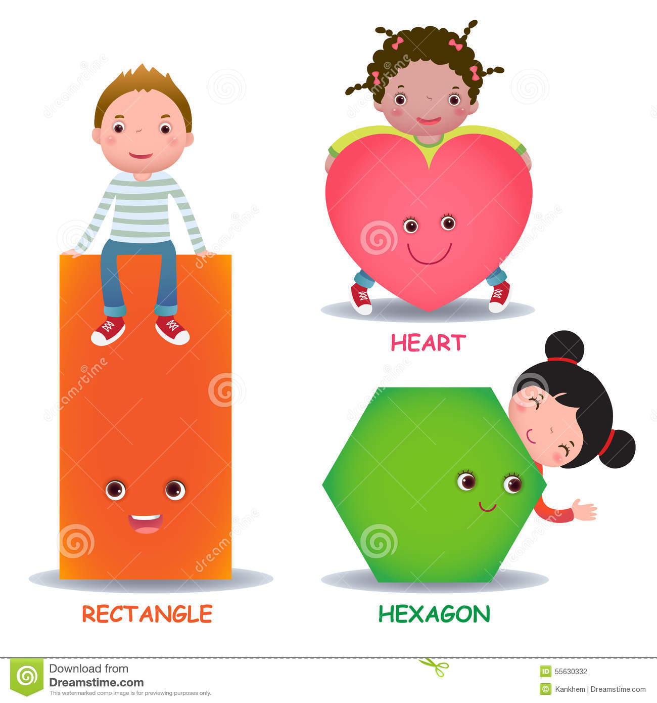 Cute Little Cartoon Kids With Basic Shapes Heart Hexagon