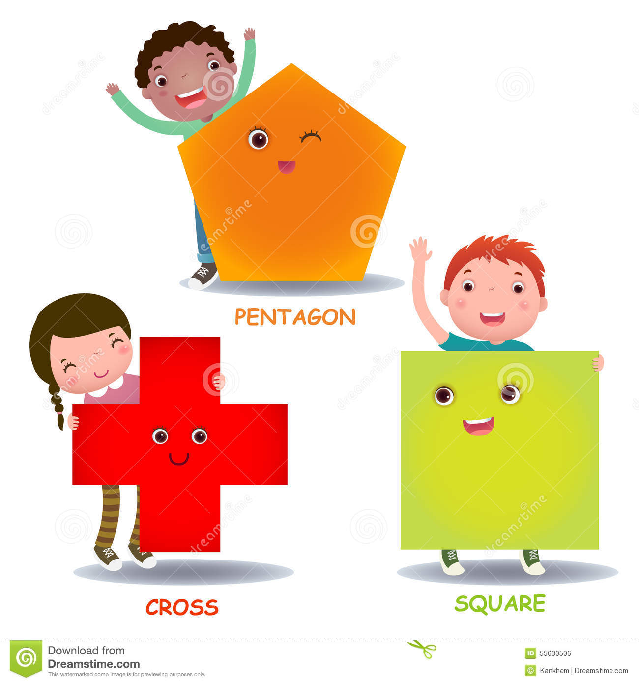 Cute Little Cartoon Kids With Basic Shapes Square Cross