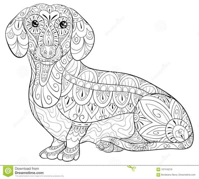 Adult Coloring Page a Cute Dachshund for Relaxing.Zen Art Style