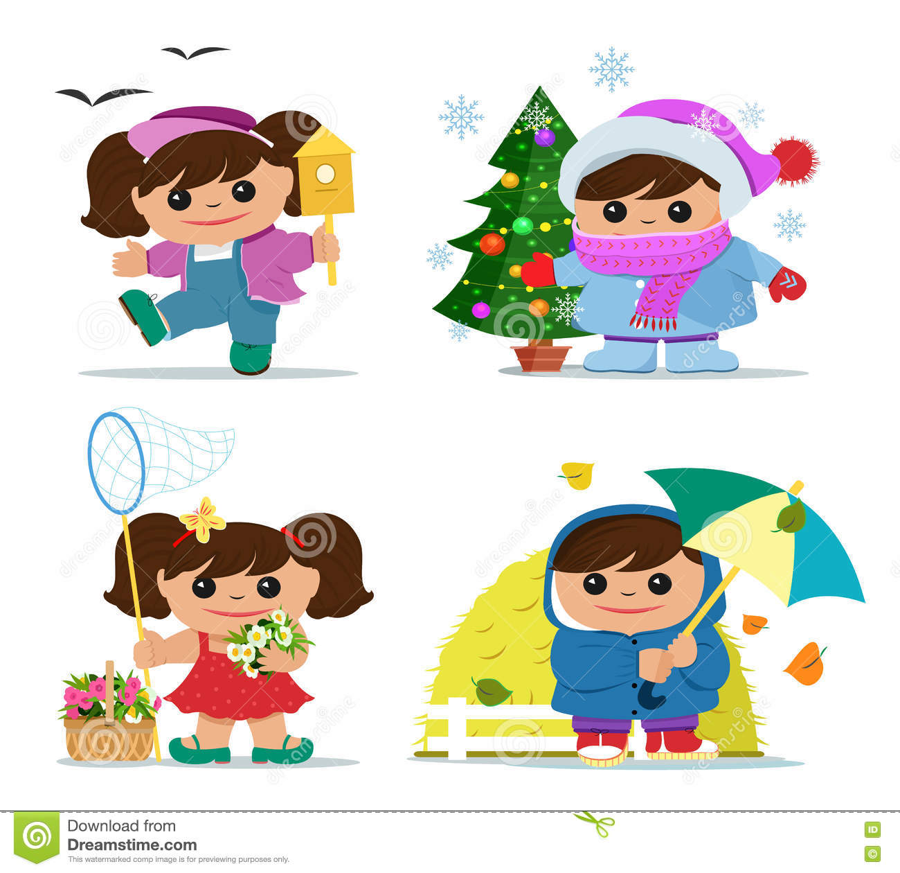 Cute Little Girl Character During Four Seasons Stock