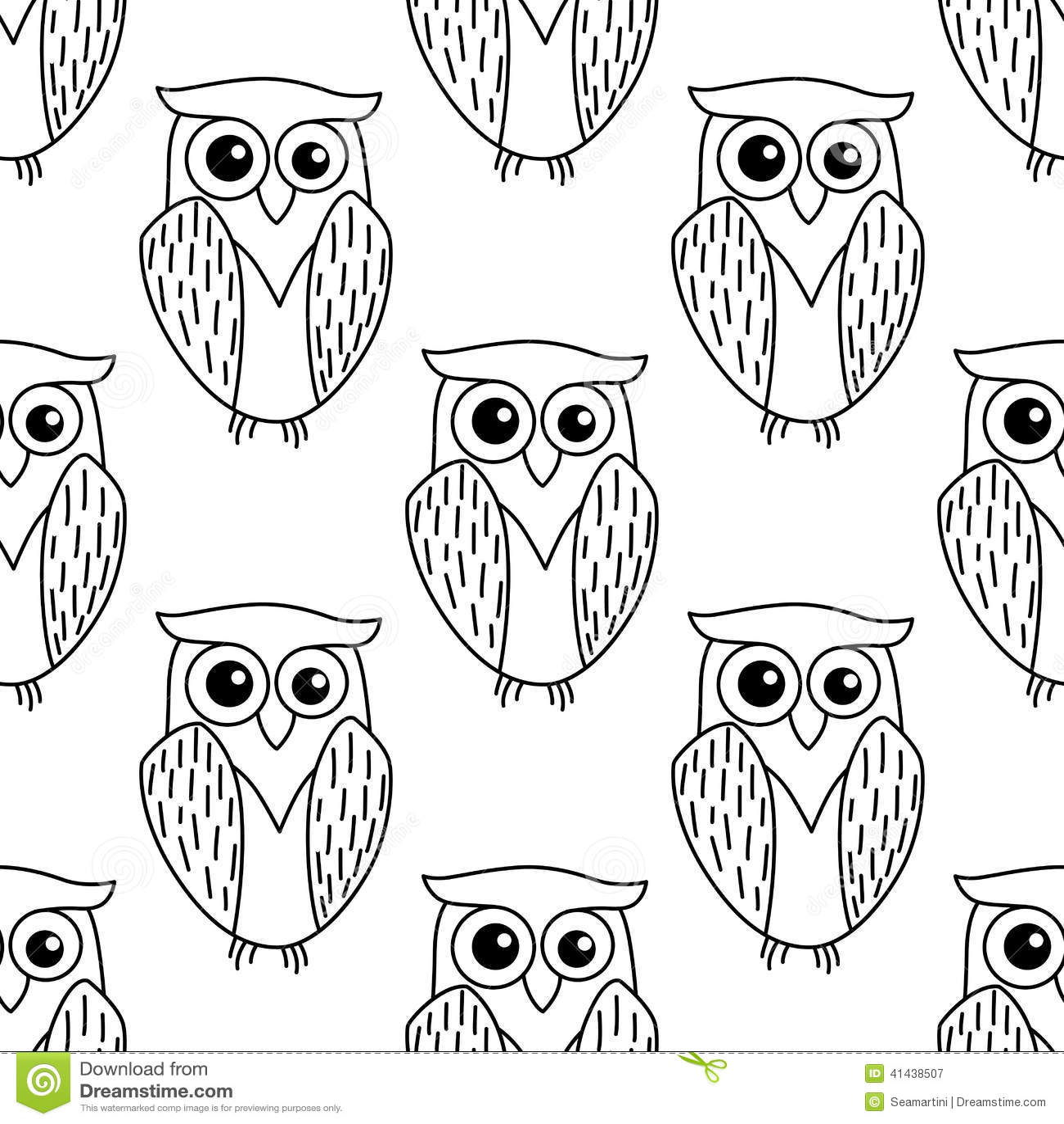 Cute Little Owl Seamless Pattern Stock Vector