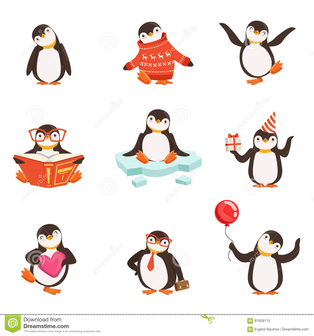 Cute Little Penguin Cartoon Characters Set For Label Design Colorful Detailed Vector