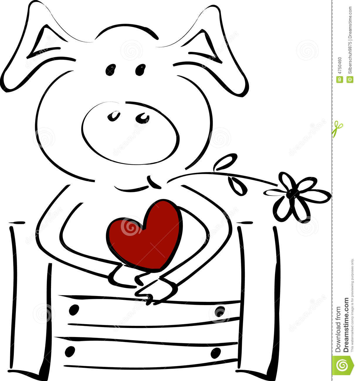 Cute Little Pig With A Heart Stock Vector