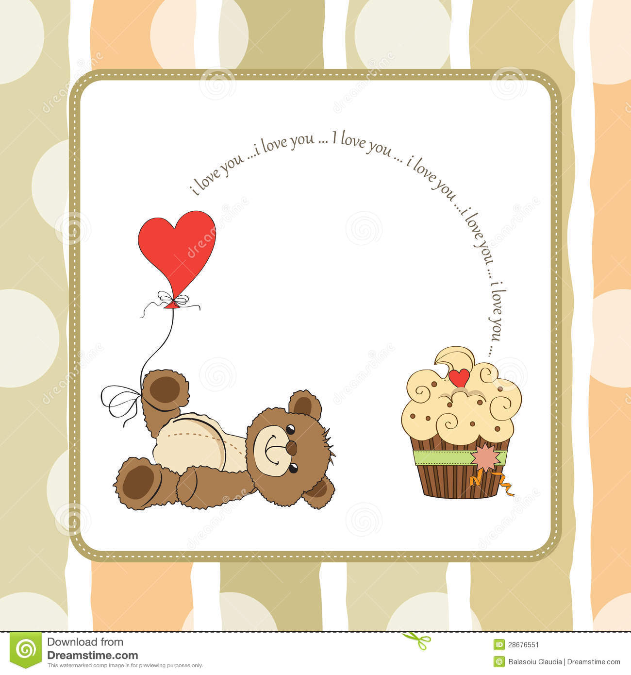 Cute Love Card With Teddy Bear Stock Image Image 28676551
