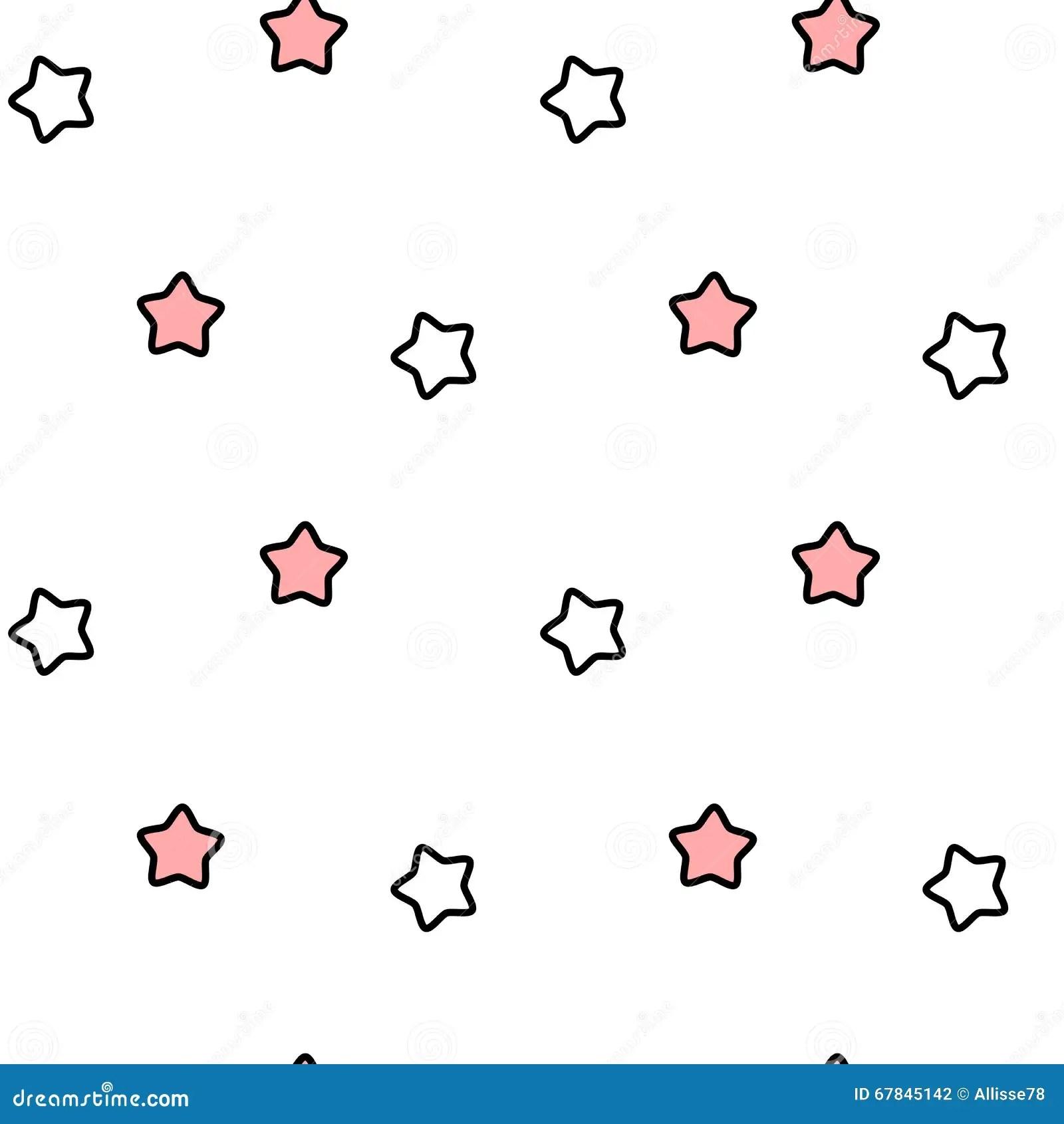 Cute Lovely Cartoon Black White Pink Stars Seamless