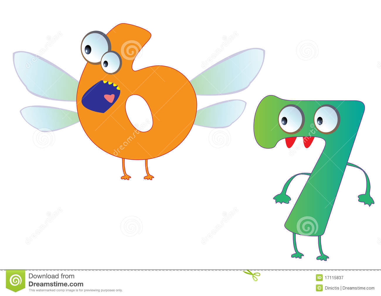Cute Monster Numbers 6 And 7 For Kids And Children Royalty
