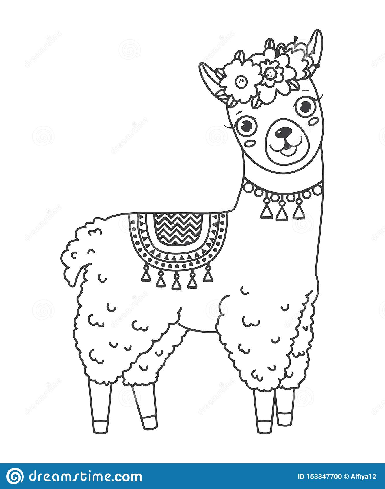 Cute Outline Doodle Jumping Llama With Hand Drawn Elements