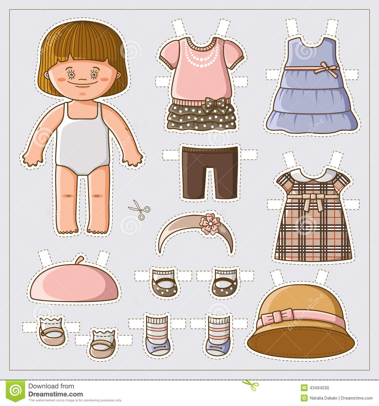 Cute Paper Doll Stock Vector Illustration Of Circle