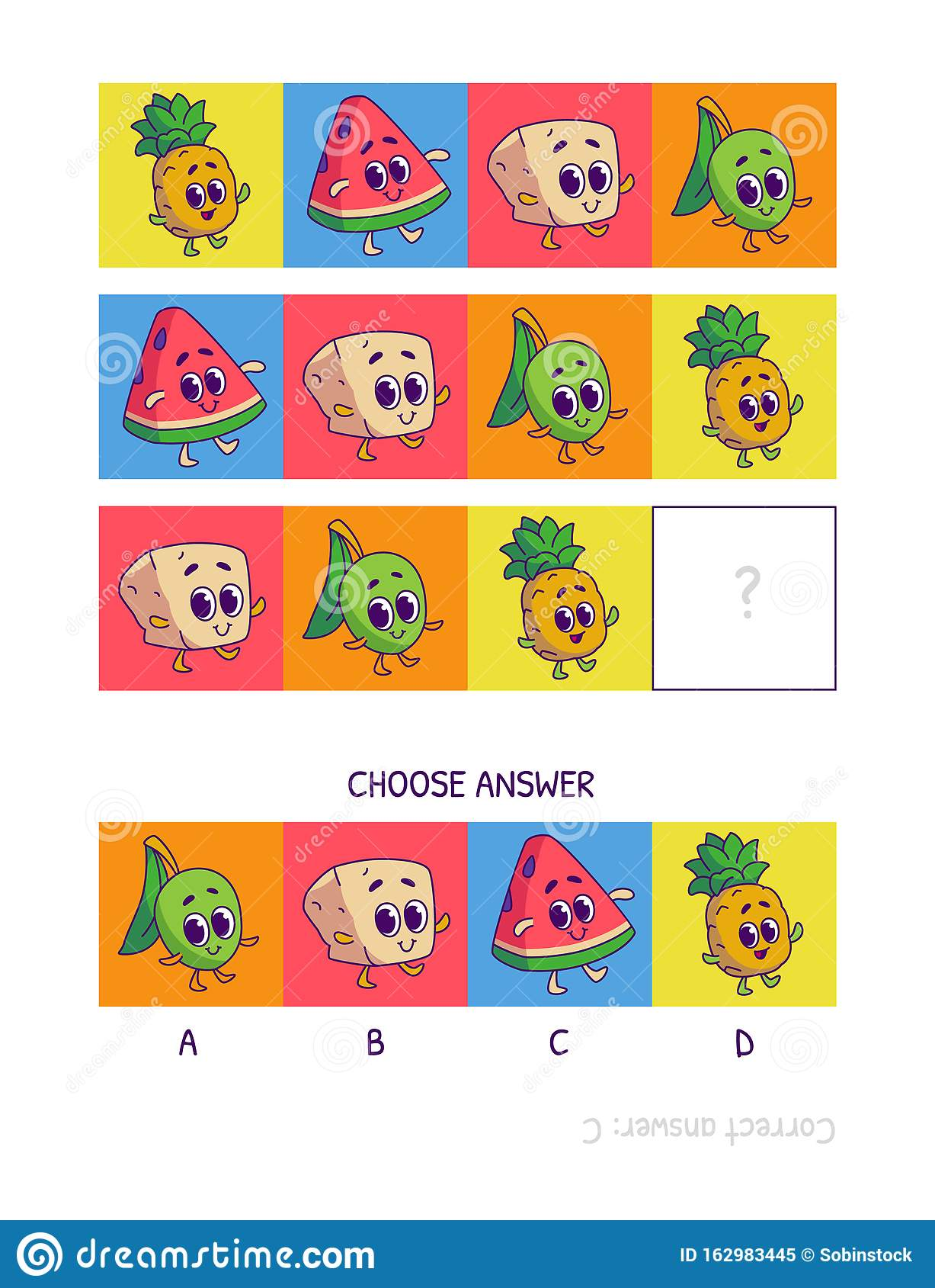 Cute Pineapple Watermelon Tofu Olive Logic Game For