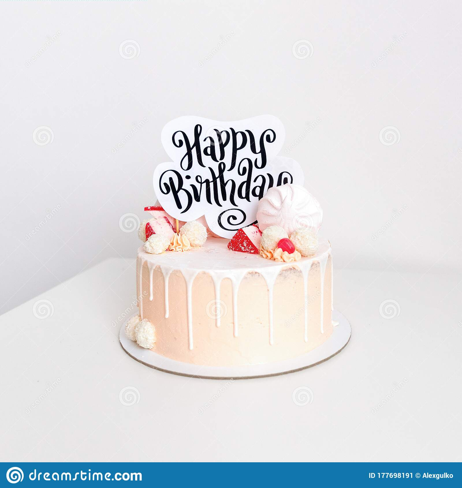 Beautiful Pink Birthday Cake For A Girl Decorated With Sweet Candies With White Background Stock Image Image Of Delicious Gift 177698191