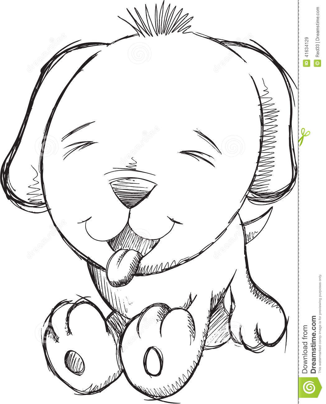 Cute Puppy Dog Doodle Sketch Vector Stock Vector
