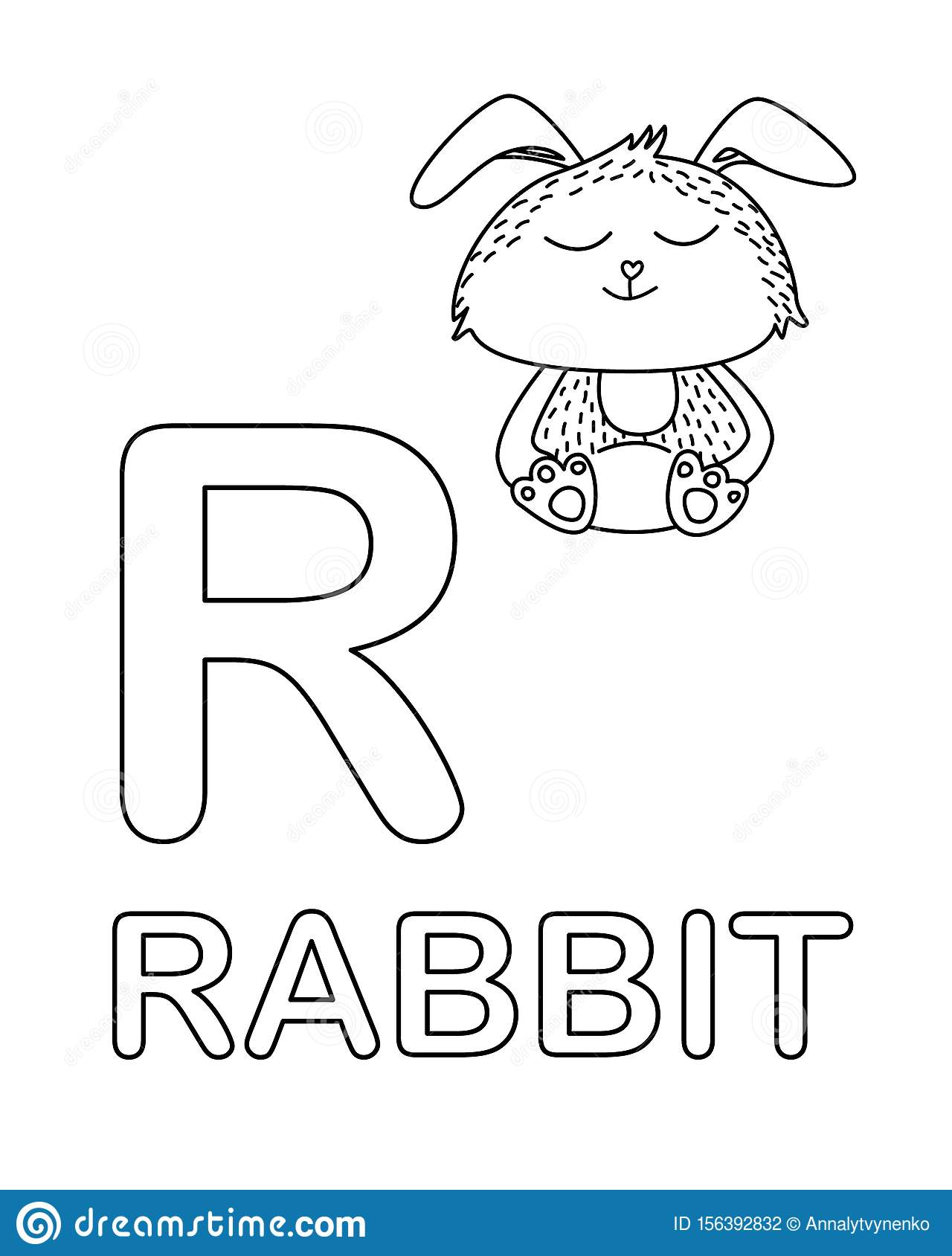 Cute Rabbit Icon With English Alphabet Letter R In Outline