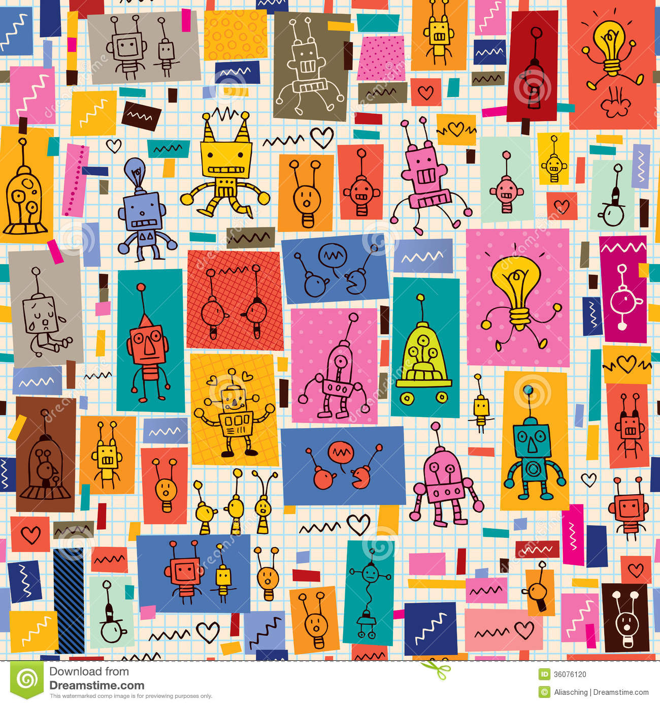 Cute Robots Collage Cartoon Retro Doodle Pattern Stock