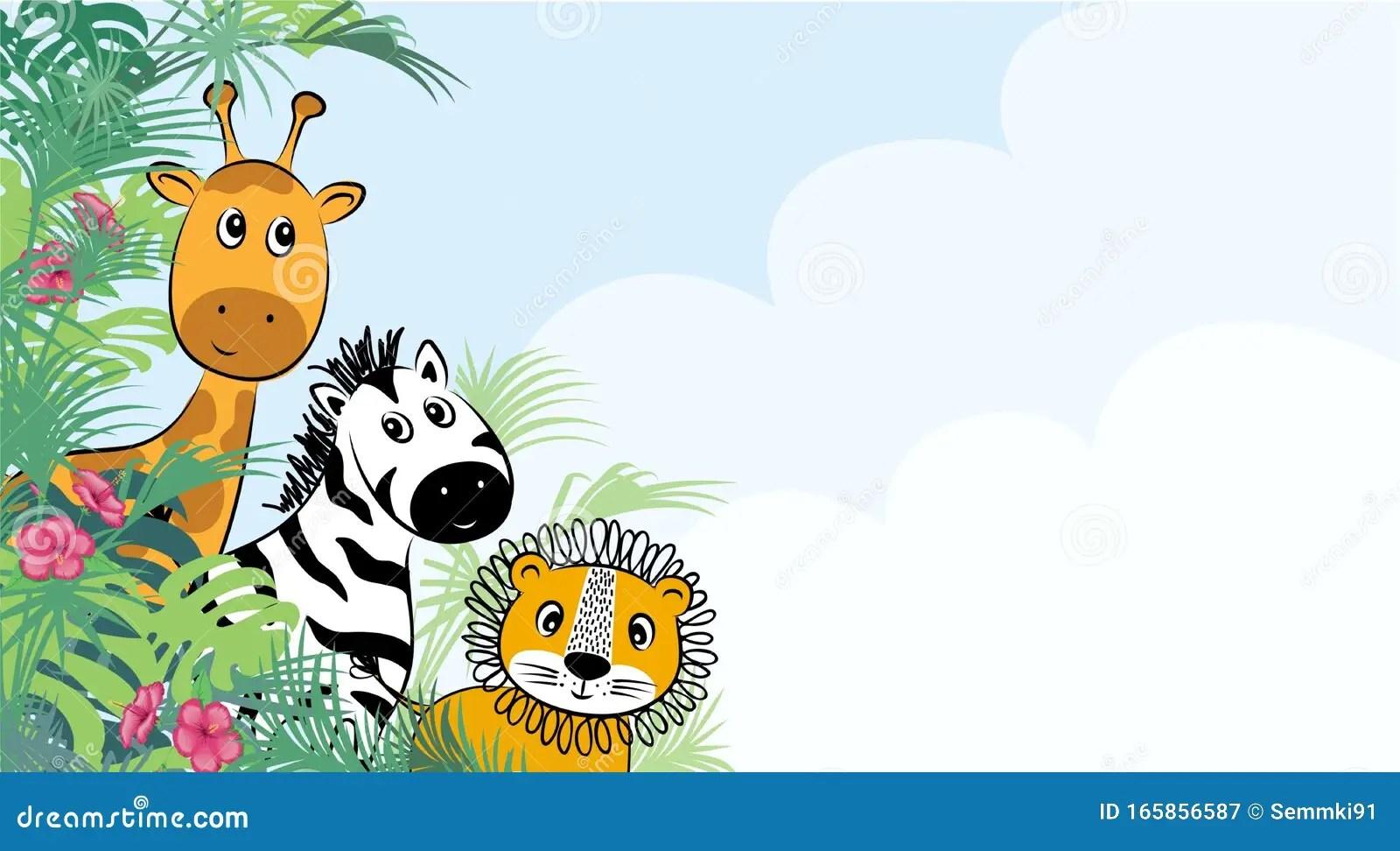 https www dreamstime com cute safari cartoon animals flyer kids party invitation card template cartoon design cute safari cartoon animals flyer image165856587