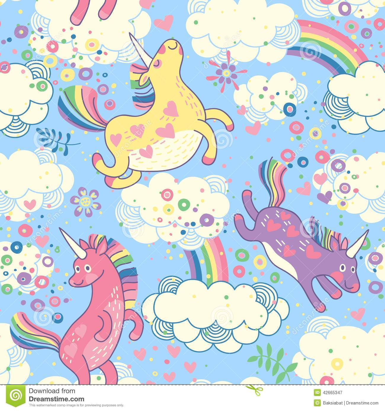 unicorns stock vector image clouds background