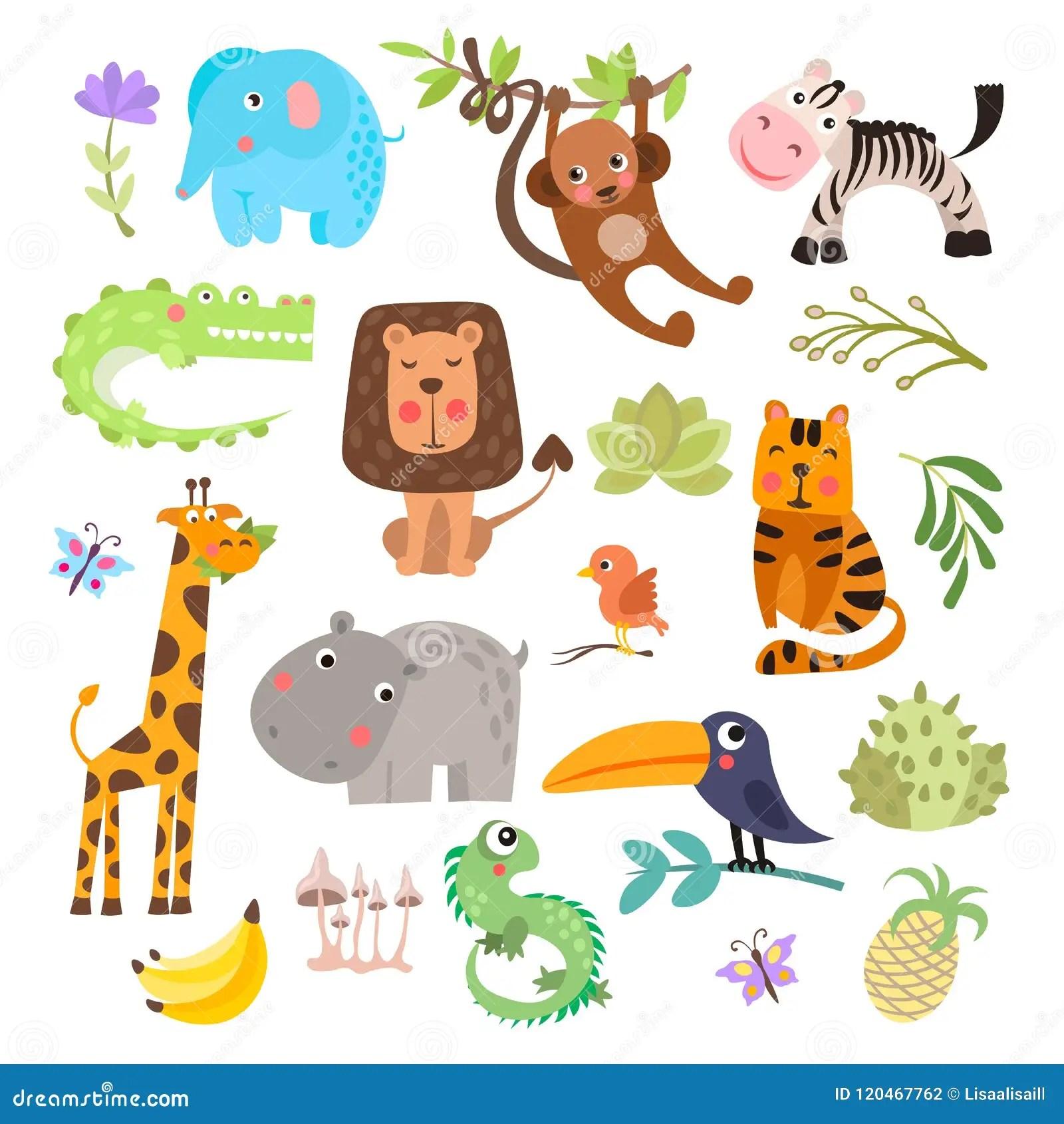 Cute Set Of Safari Animals And Flowers Savanna And Safari Funny Cartoon Animals Jungle Animals