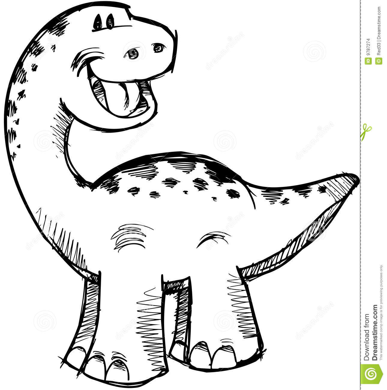 Cute Sketchy Dinosaur Vector Stock Vector