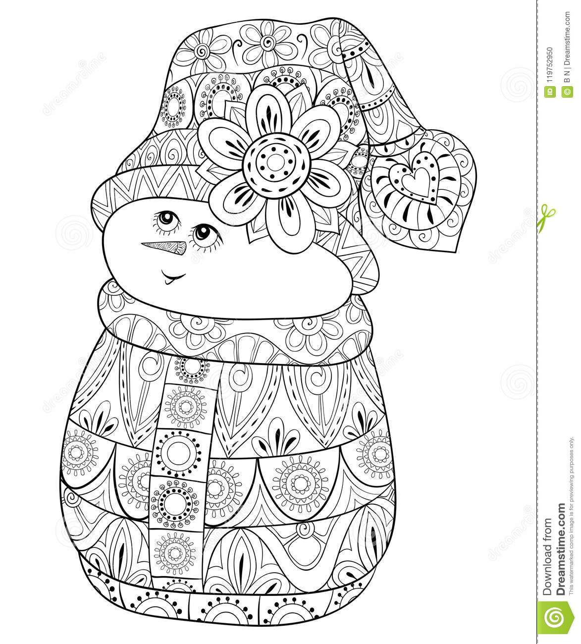 Adult Coloring Book Page A Cute Snowman For Relaxing Zen