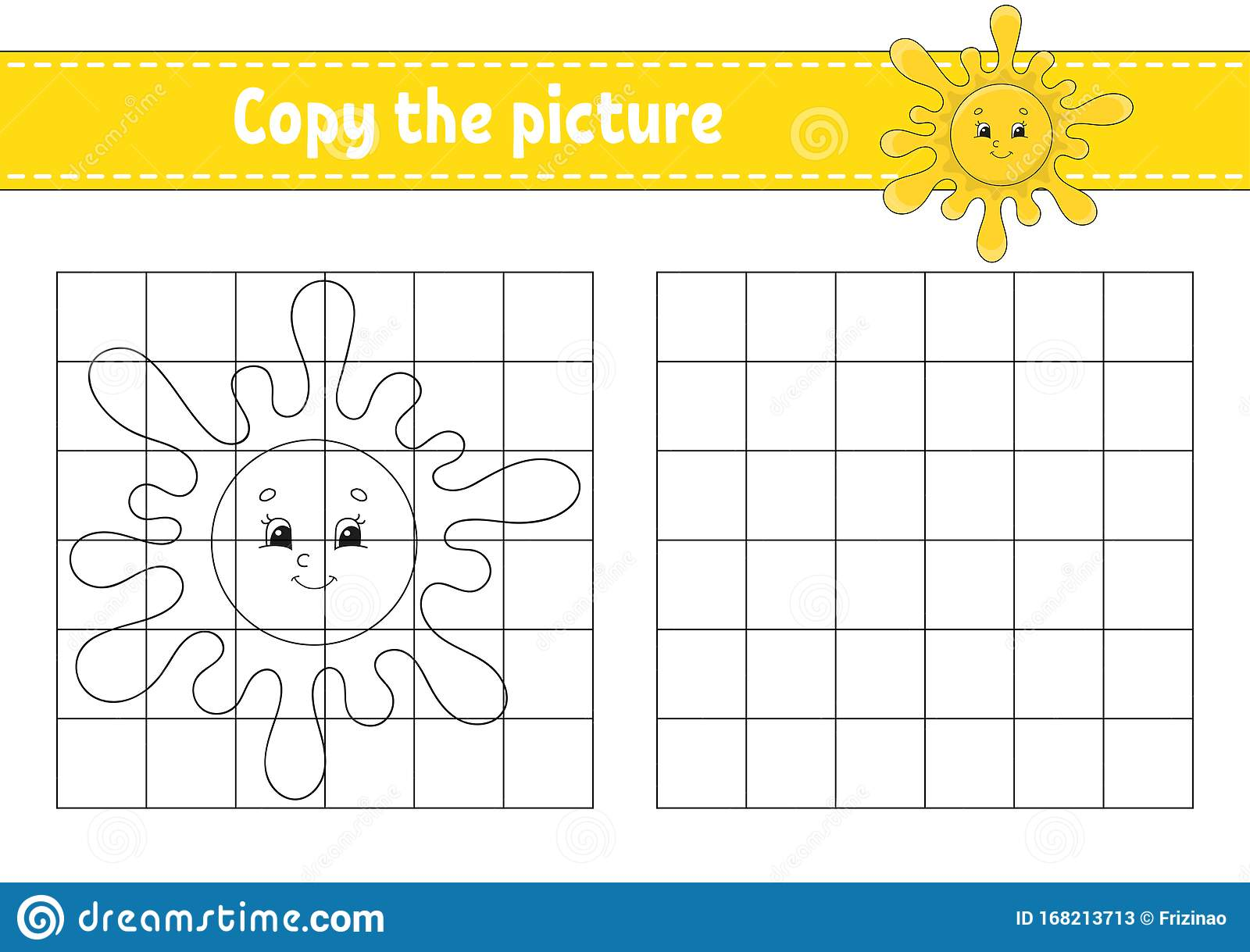 Cute Sun Copy The Picture Coloring Book Pages For Kids