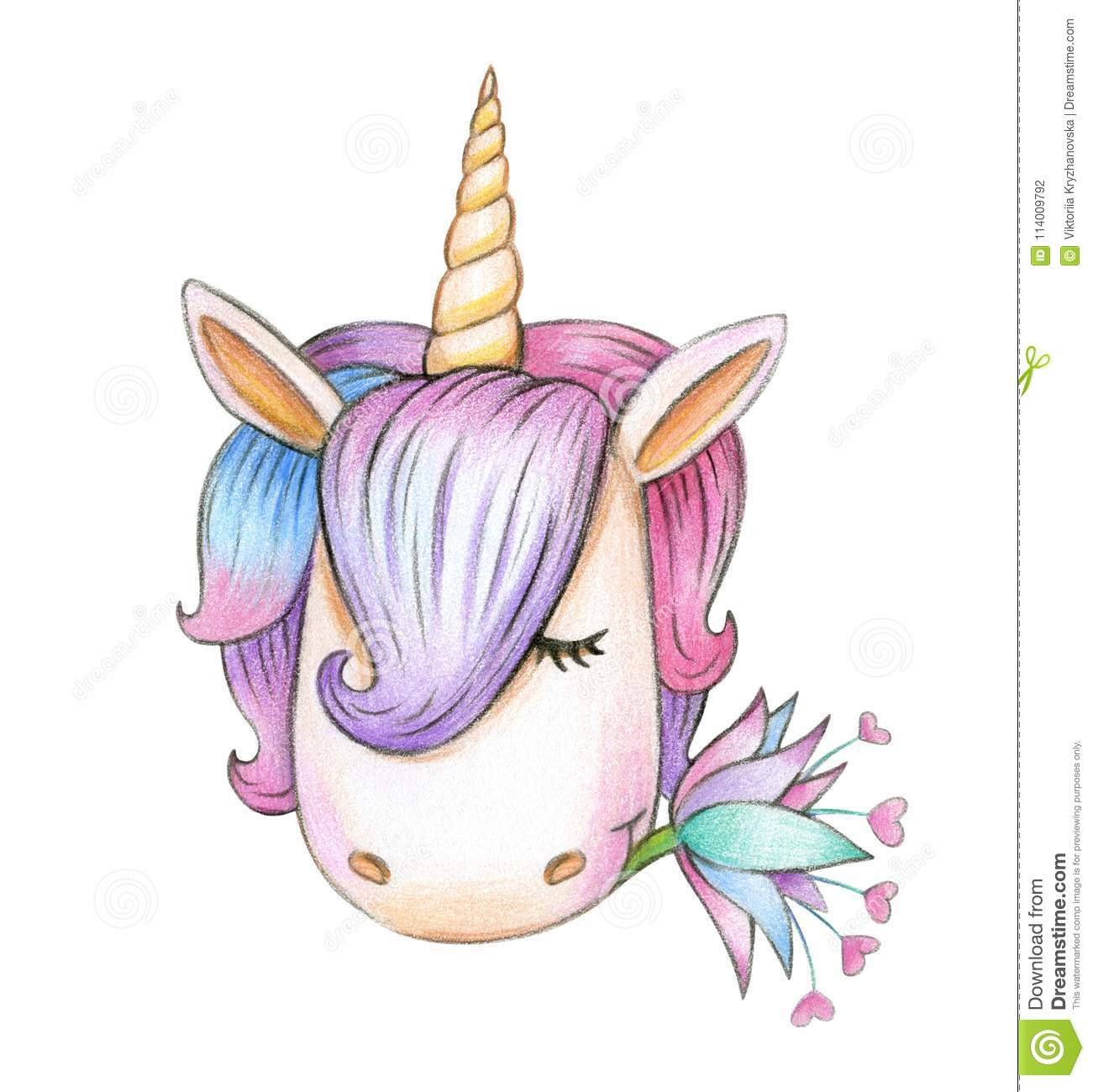 Cute Unicorn Head Drawing Stock Illustration