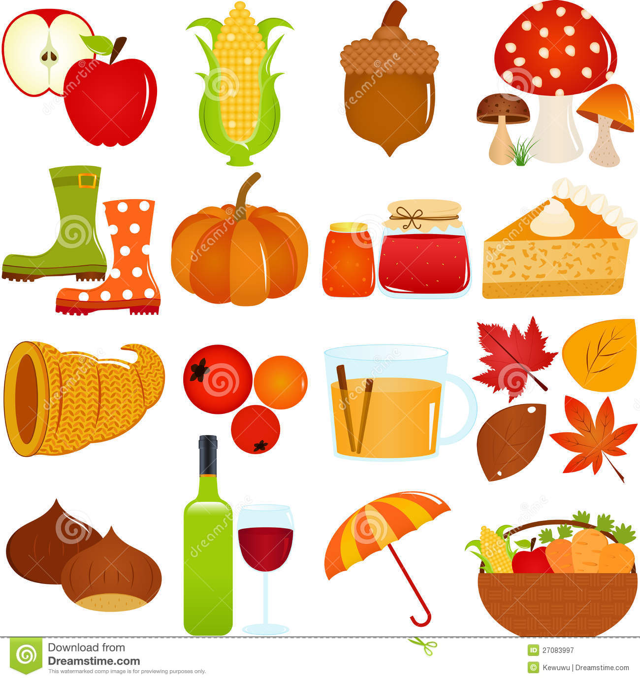 Cute Vector Icons Autumn Fall Theme Stock Vector