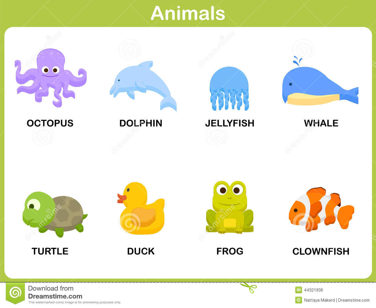 Cute Vector Set Of Animal For Kids Stock Vector