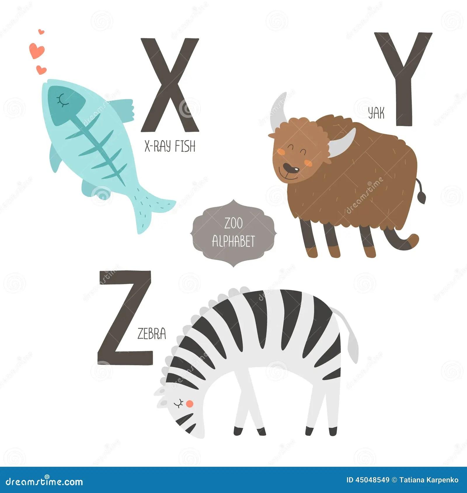 Cute Vector Zoo Alphabet Stock Vector