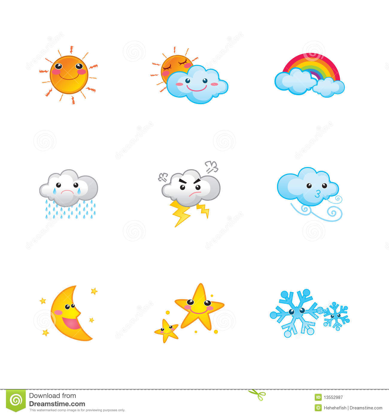 Cute Weather Icons Cartoon Vector