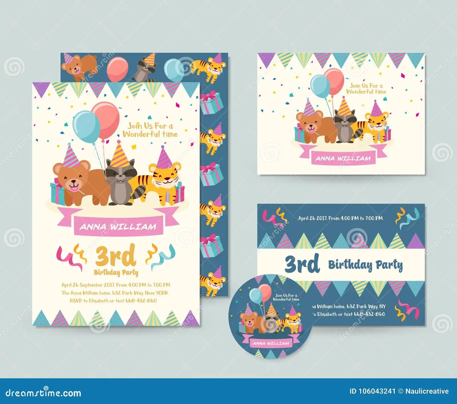 https www dreamstime com cute wild animal theme happy birthday invitation card set flyer illustration template cute children happy birthday invitation image106043241