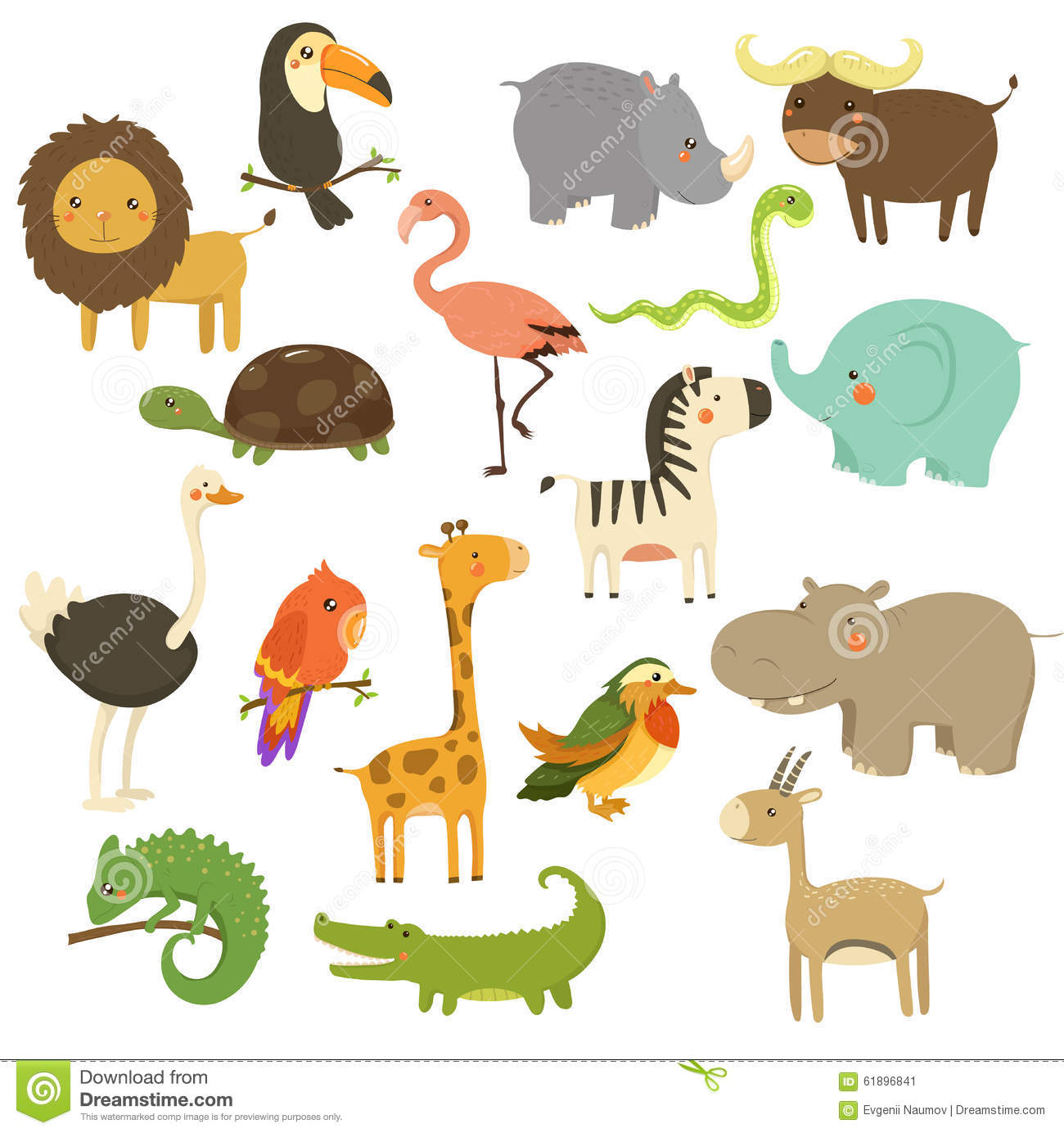 Cute Woodland And Jungle Animals Vector Set Stock Vector