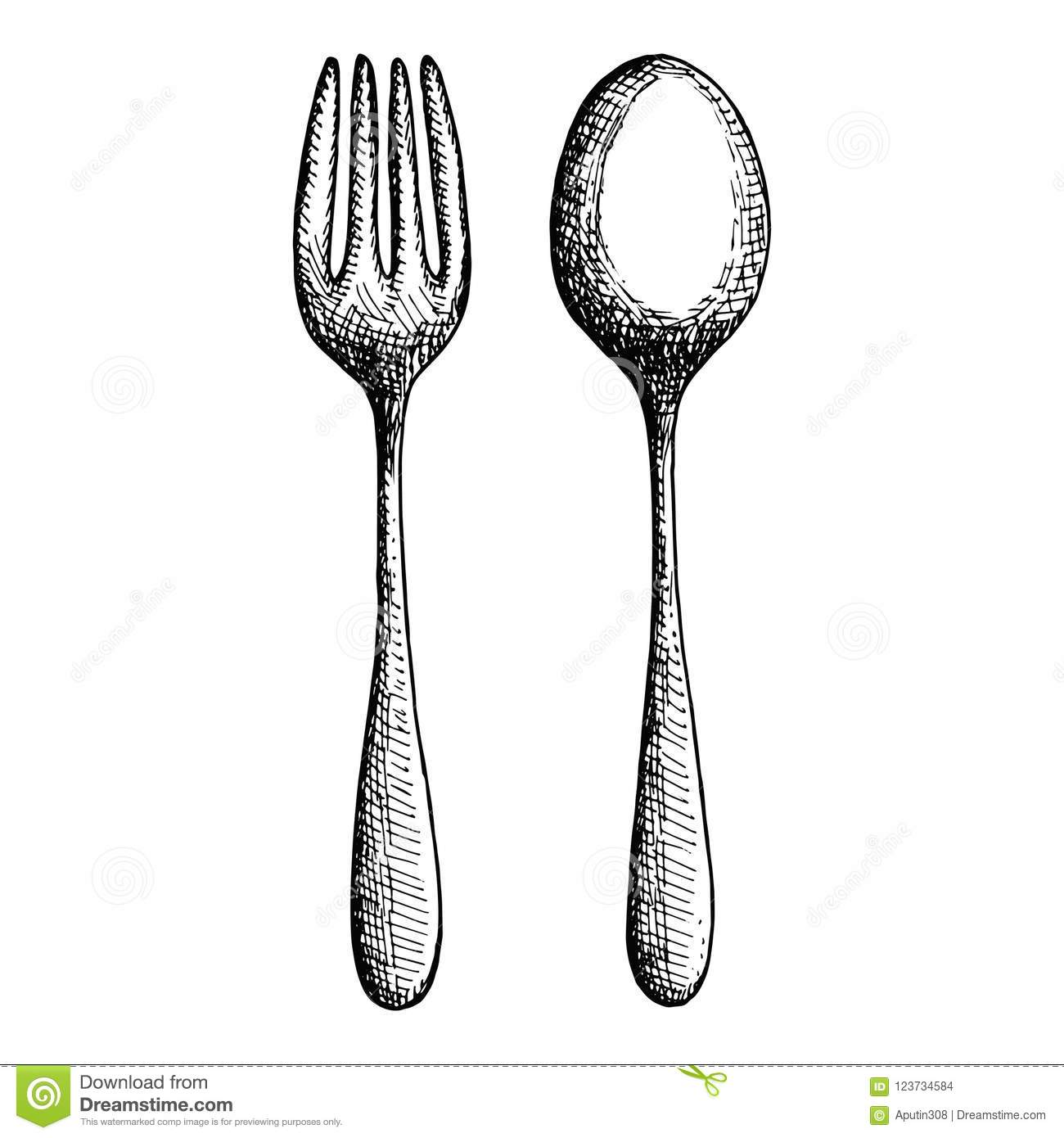 Cutlery Isolated Vintage Fork And Spoon Stock Vector