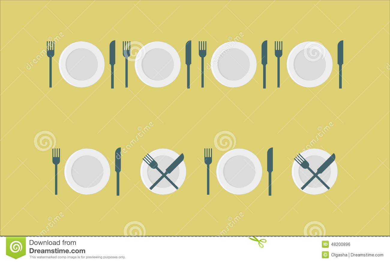 Cutlery Set Plate Fork Knife Stock Photo Image Of