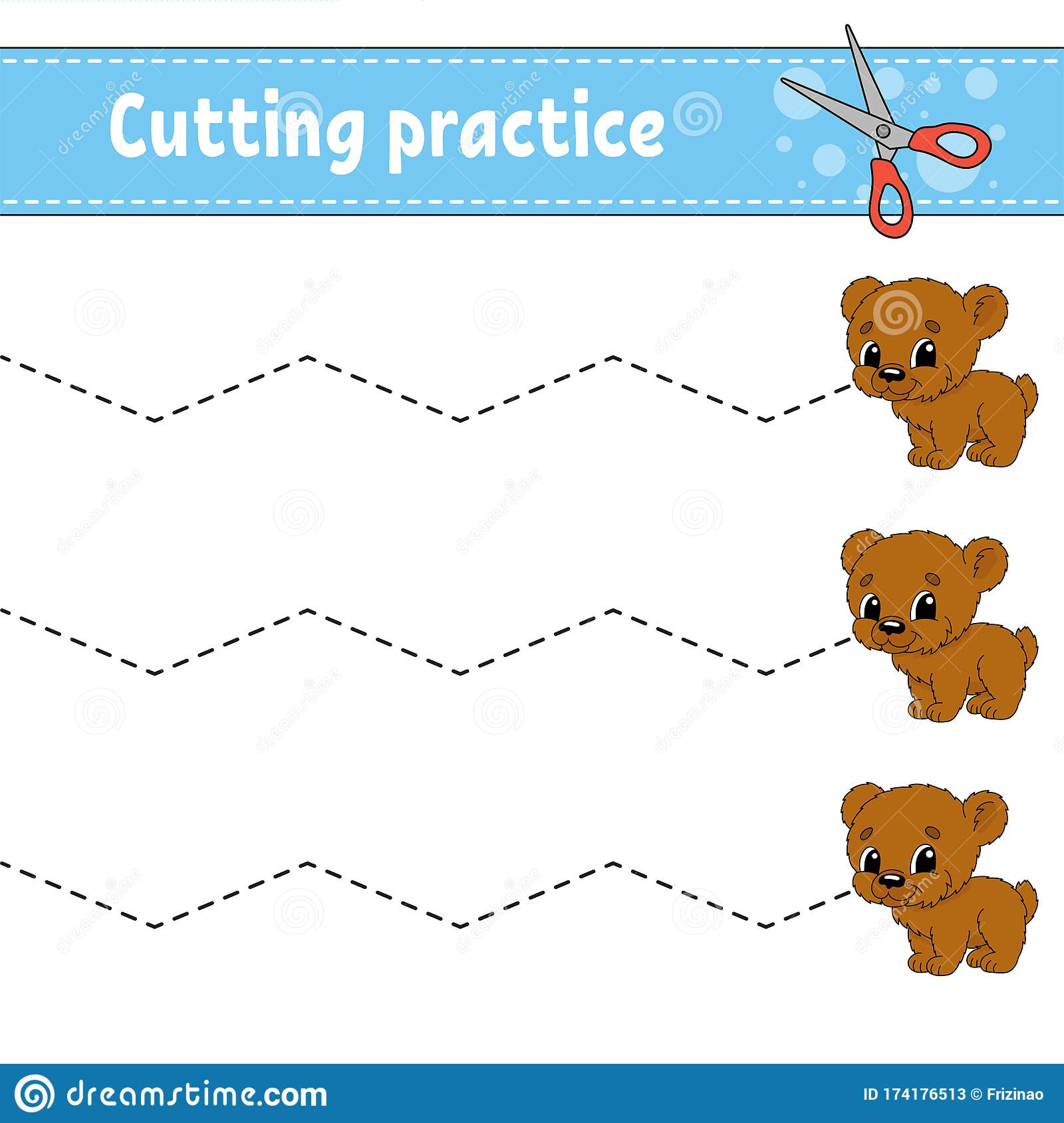 Cutting Practice For Kids Animal Bear Education