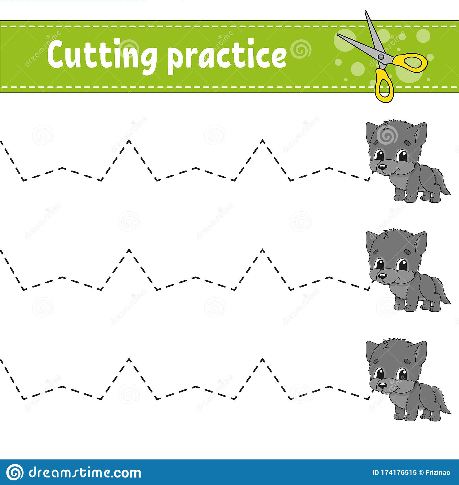 Cutting Practice For Kids Animal Wolf Education