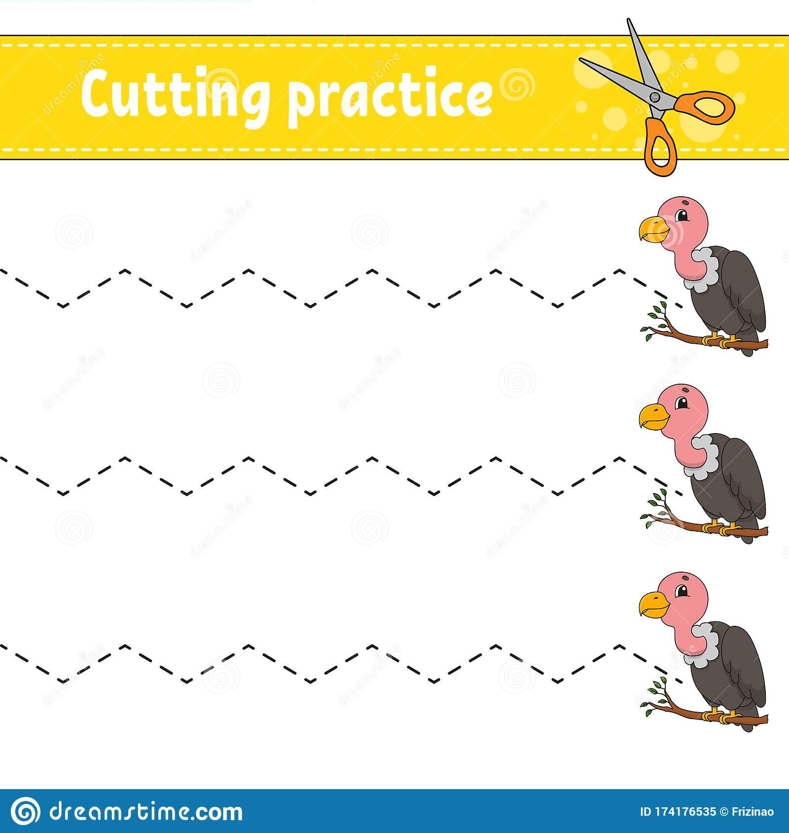 Cutting Practice For Kids Bird Vulture Education