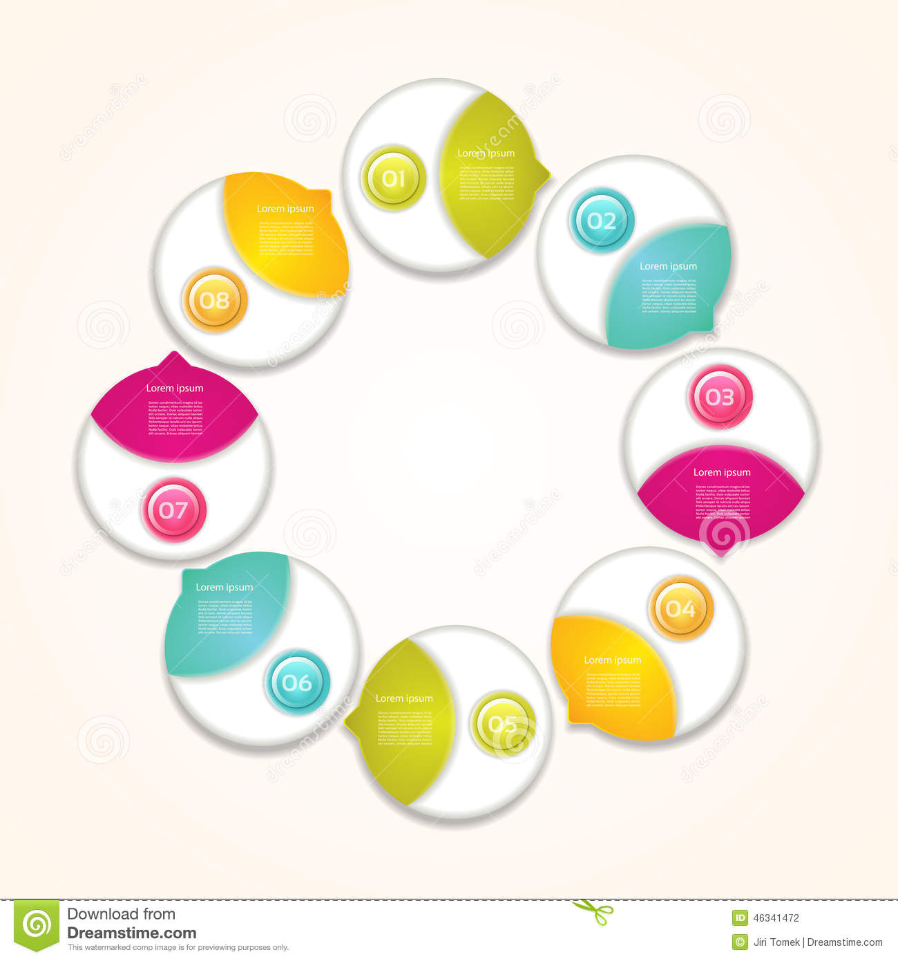 Cyclic Diagram With Eight Steps Stock Illustration