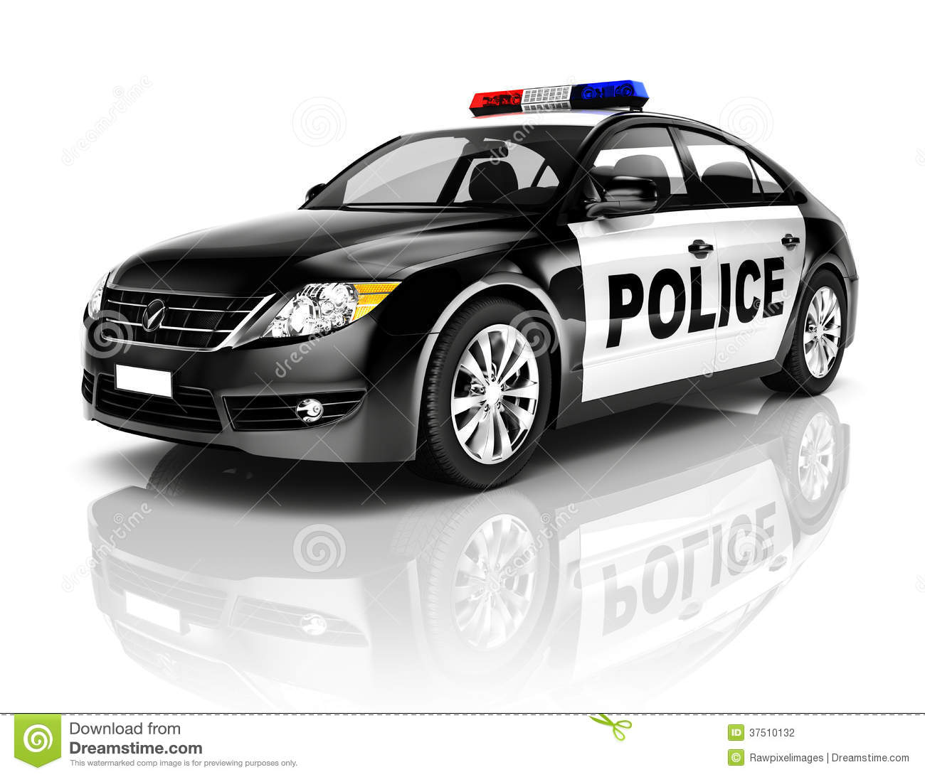 3d Black Police Car On White Background Stock Illustration