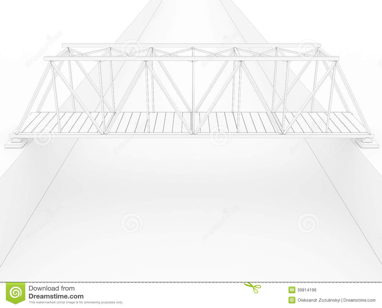 3d Bridge Drawing 2 Stock Illustration Illustration Of