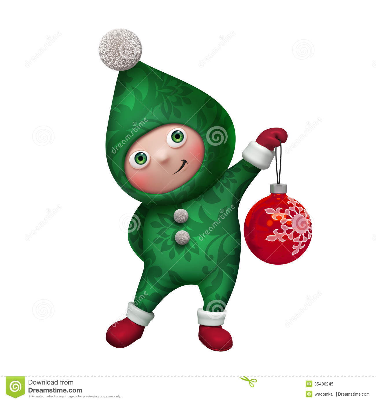 3d christmas elf character holding green glass ball isolated on white