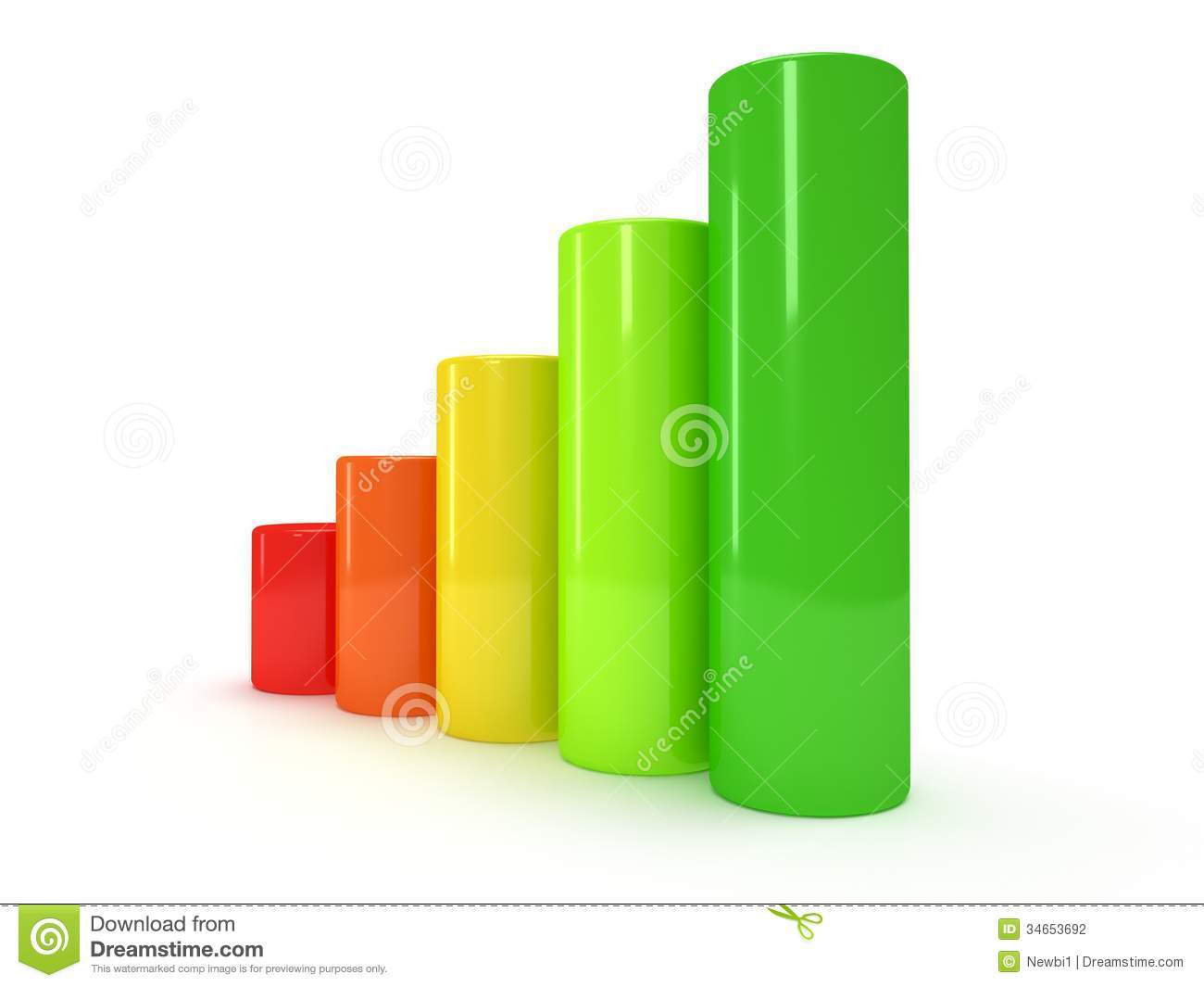 3d Colored Bar Graph Stock Photography