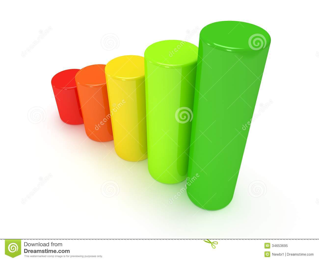 3d Colored Bar Graph Royalty Free Stock Photo