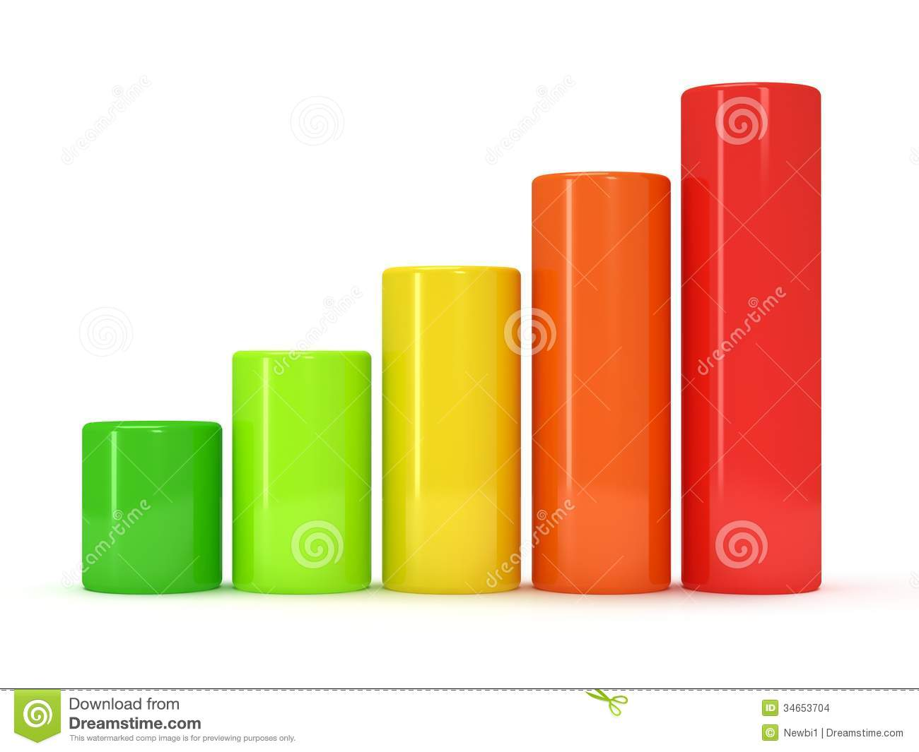 3d Colored Bar Graph Stock Images