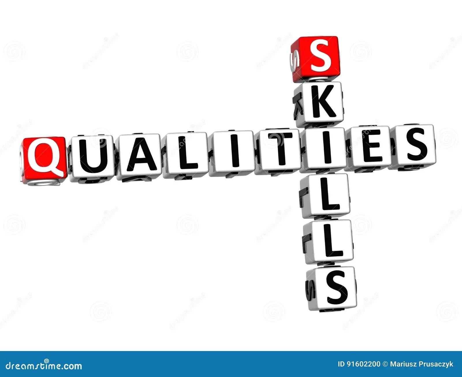 3d Crossword Qualities Skills On White Background Stock