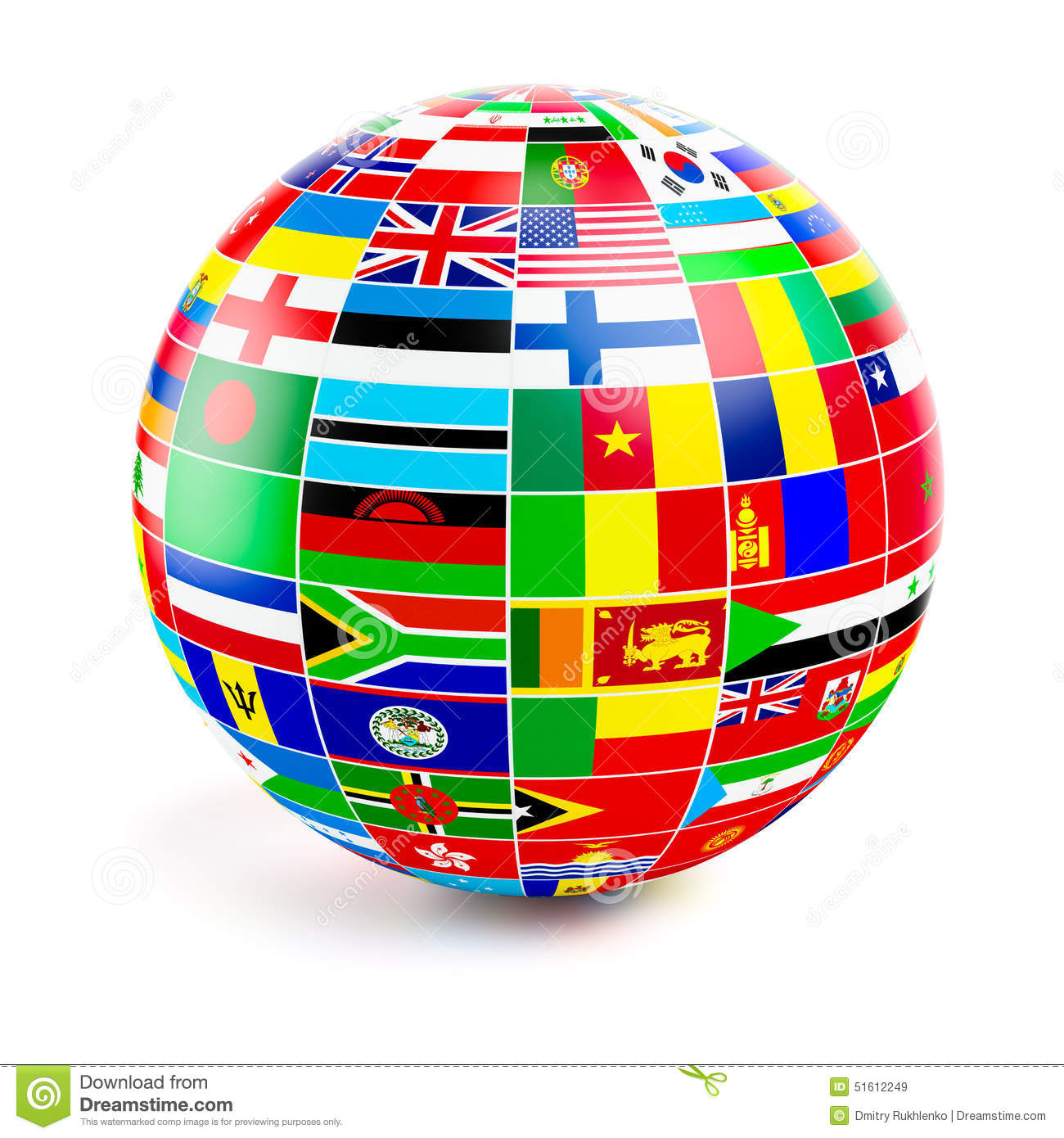 3d Globe Sphere With Flags Of The World On White Stock