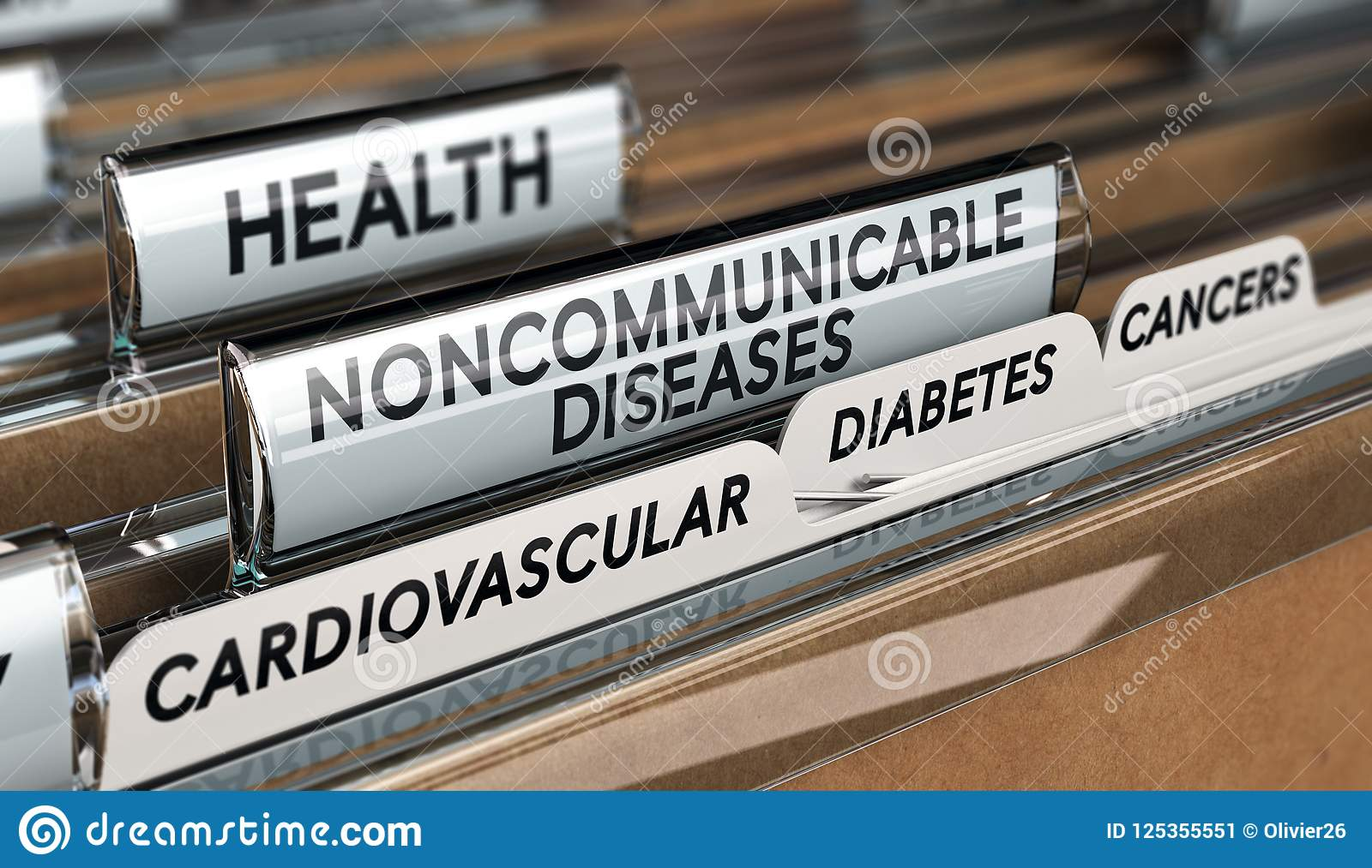 Noncommunicable Diseases List Stock Illustration