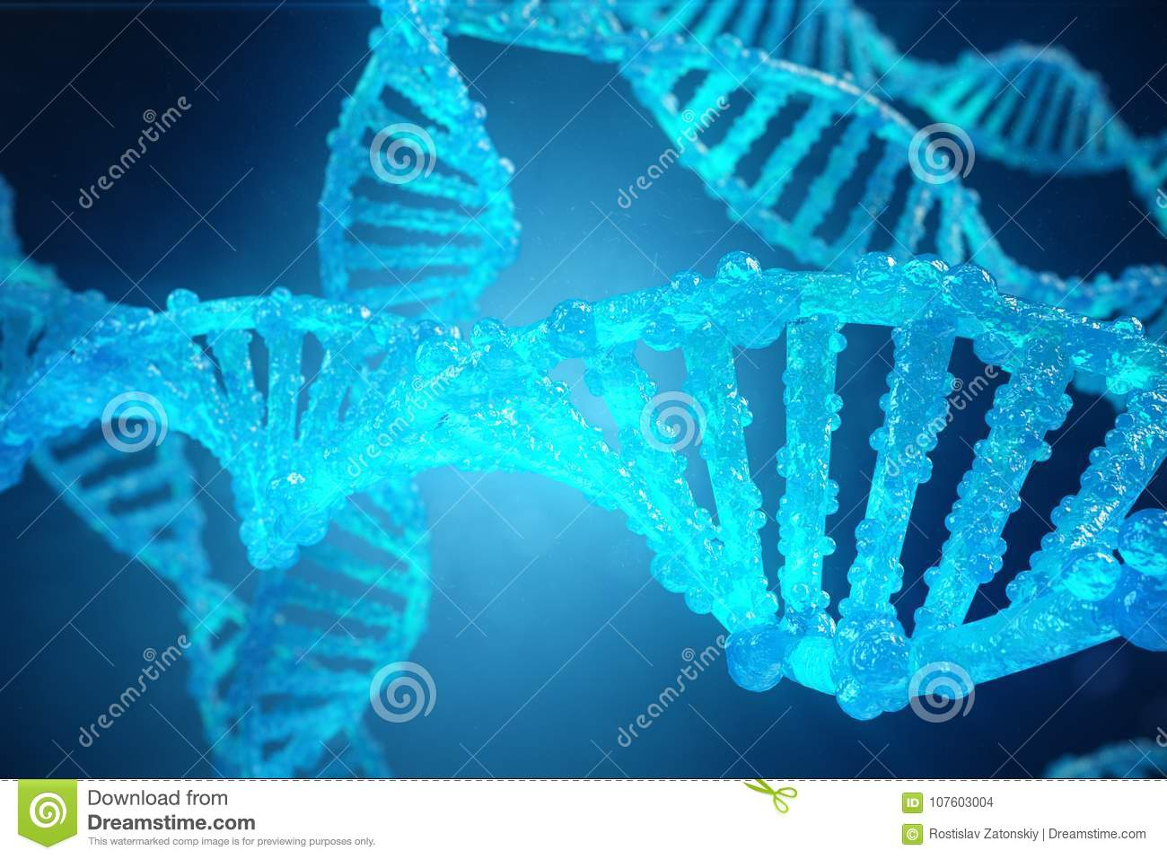 3d Illustration Helix Dna Molecule With Modified Genes