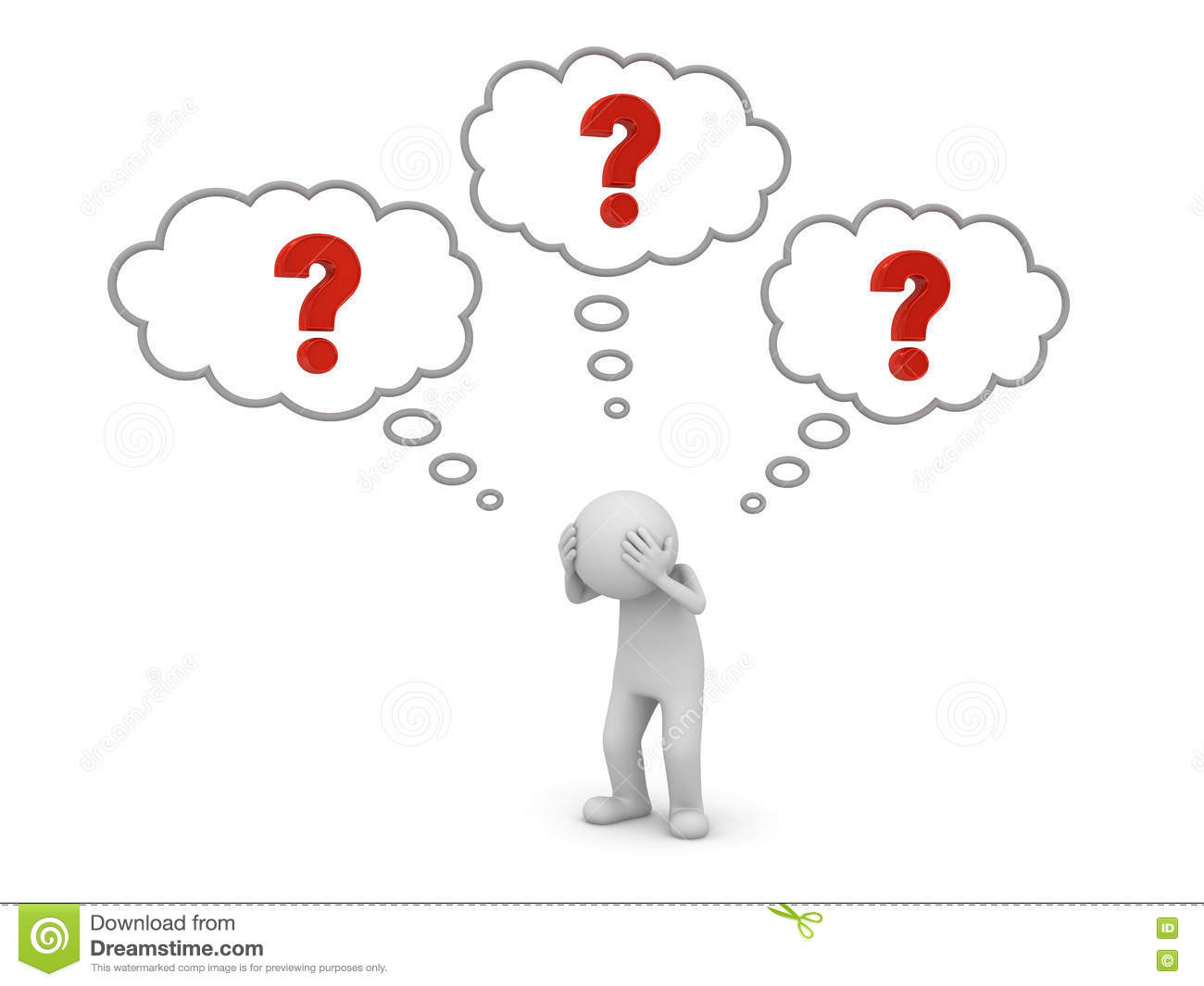 3d Man Thinking Question Marks Royalty Free Cartoon