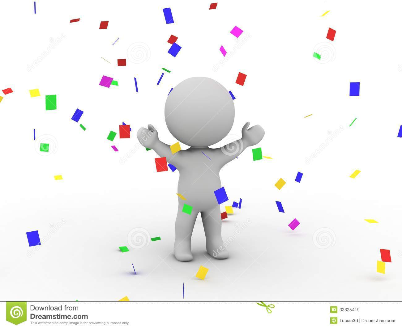 3D Man Victory Confetti Royalty Free Stock Images Image