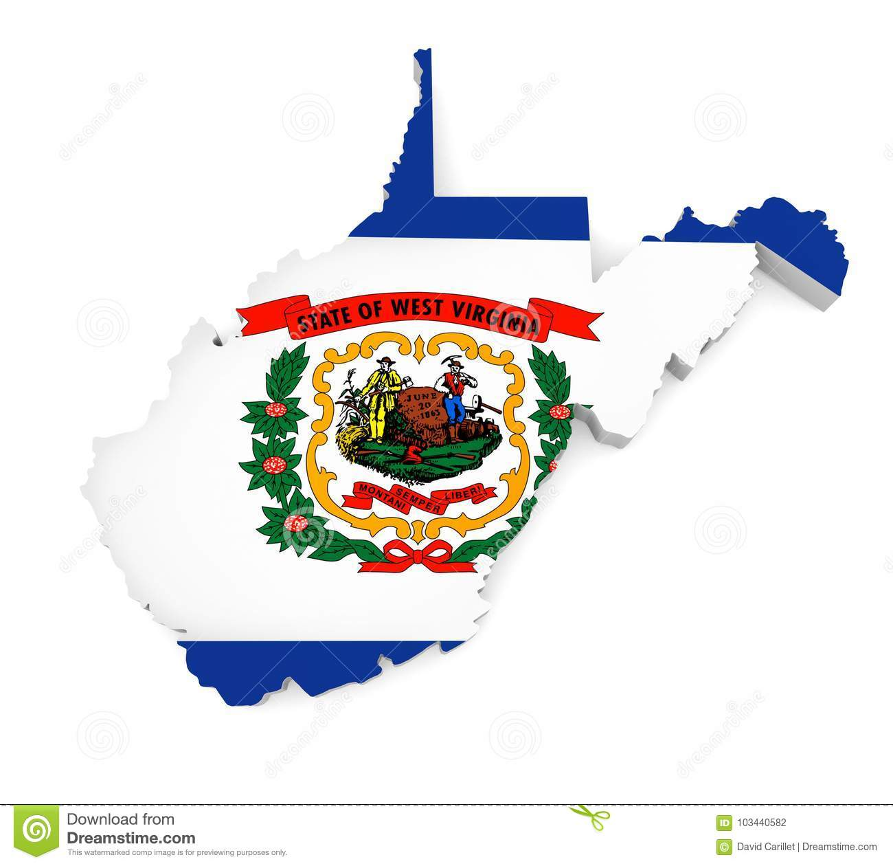 Geographic Border Map And Flag Of West Virginia State