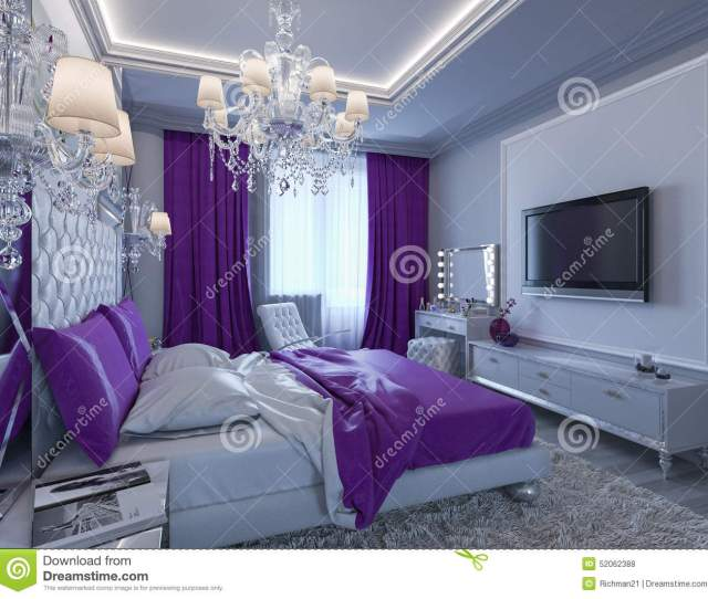 D Rendering Bedroom In Gray And White Tones With Purple Accent